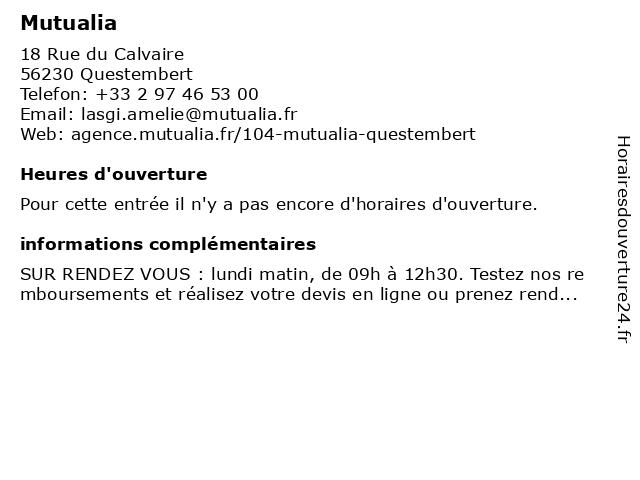 Mutualia à Questembert: adresse et heures d'ouverture