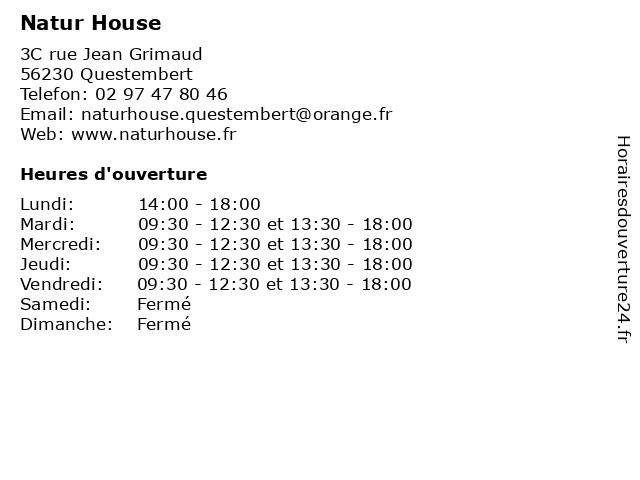 Natur House à Questembert: adresse et heures d'ouverture