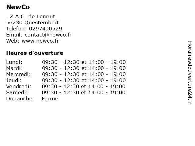 NewCo à Questembert: adresse et heures d'ouverture
