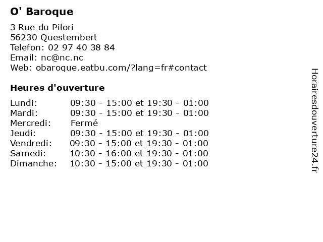 O' Baroque à Questembert: adresse et heures d'ouverture