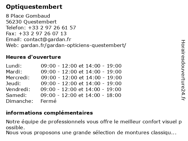 Optiquestembert à Questembert: adresse et heures d'ouverture