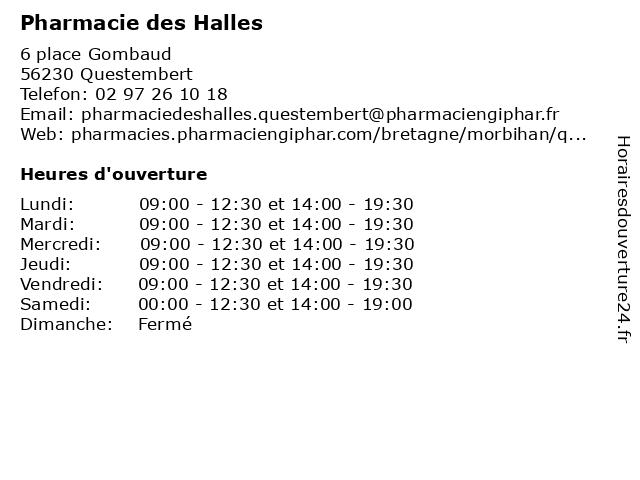 Pharmacie des Halles à Questembert: adresse et heures d'ouverture