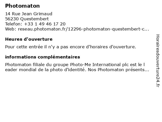 Photomaton à Questembert: adresse et heures d'ouverture