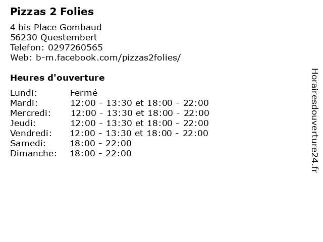 Pizzas 2 Folies à Questembert: adresse et heures d'ouverture