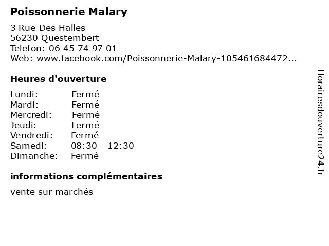 Poissonnerie Malary à Questembert: adresse et heures d'ouverture