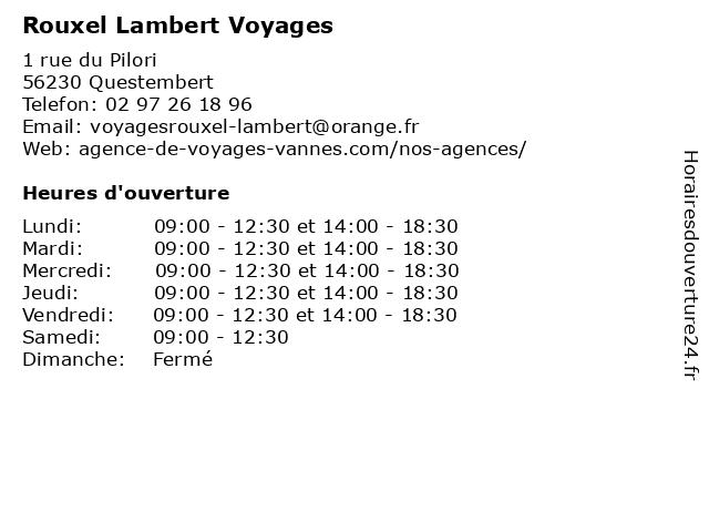 Rouxel Lambert Voyages à Questembert: adresse et heures d'ouverture