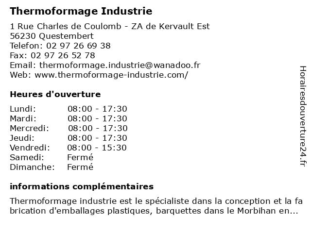 Thermoformage Industrie à Questembert: adresse et heures d'ouverture