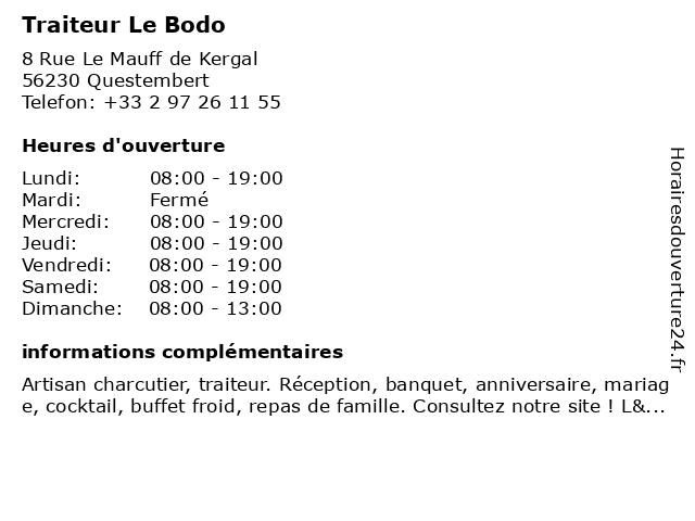 Traiteur Le Bodo à Questembert: adresse et heures d'ouverture