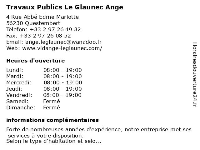 Travaux Publics Le Glaunec Ange à Questembert: adresse et heures d'ouverture