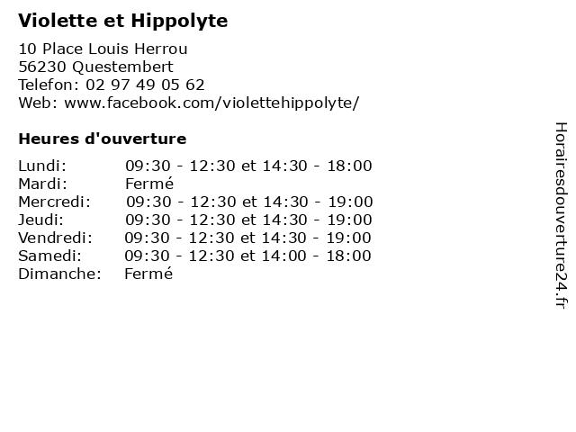 Violette et Hippolyte à Questembert: adresse et heures d'ouverture