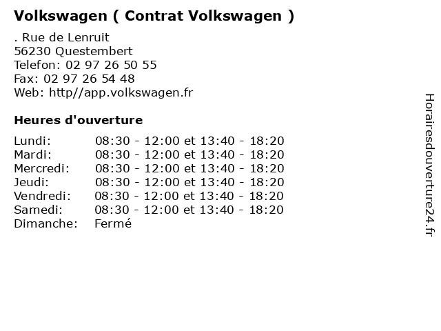 Volkswagen ( Contrat Volkswagen ) à Questembert: adresse et heures d'ouverture