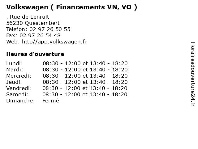 Volkswagen ( Financements VN, VO ) à Questembert: adresse et heures d'ouverture