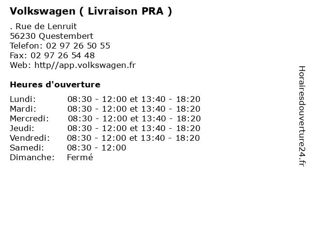 Volkswagen ( Livraison PRA ) à Questembert: adresse et heures d'ouverture