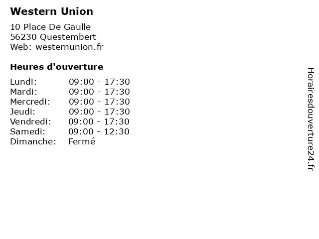 Western Union à Questembert: adresse et heures d'ouverture