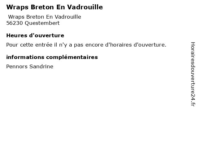 Wraps Breton En Vadrouille à Questembert: adresse et heures d'ouverture