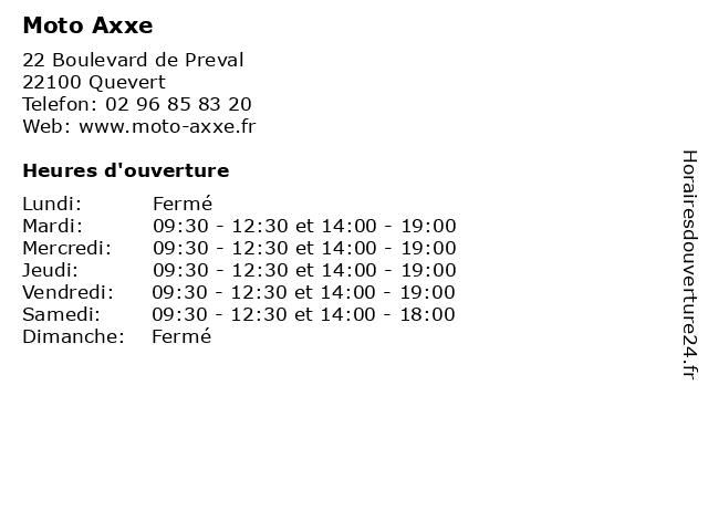 Moto Axxe à Quevert: adresse et heures d'ouverture