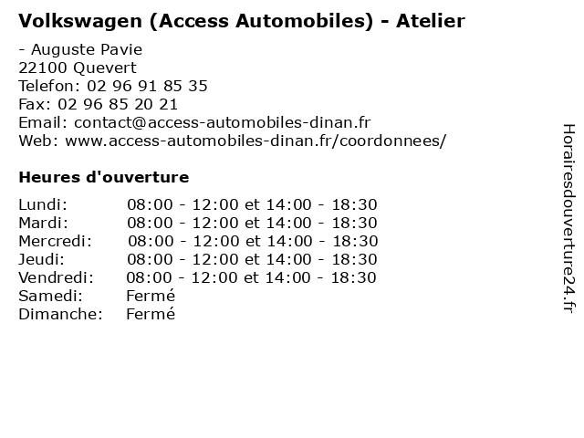 Volkswagen (Access Automobiles) - Atelier à Quevert: adresse et heures d'ouverture