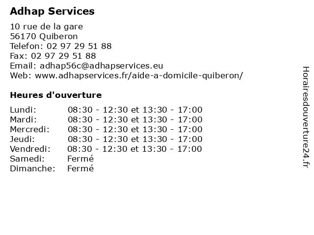 Adhap Services à Quiberon: adresse et heures d'ouverture