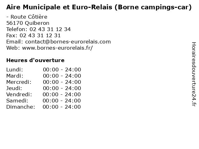 Aire Municipale et Euro-Relais (Borne campings-car) à Quiberon: adresse et heures d'ouverture