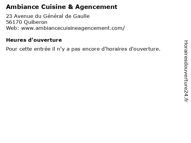 Ambiance Cuisine & Agencement à Quiberon: adresse et heures d'ouverture