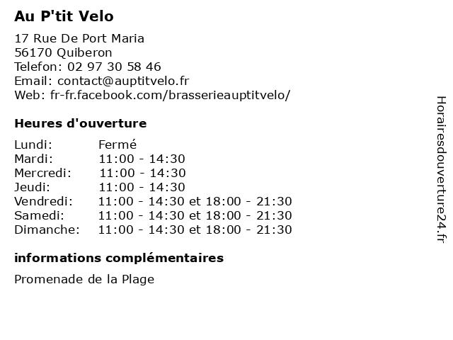 Au P'tit Velo à Quiberon: adresse et heures d'ouverture