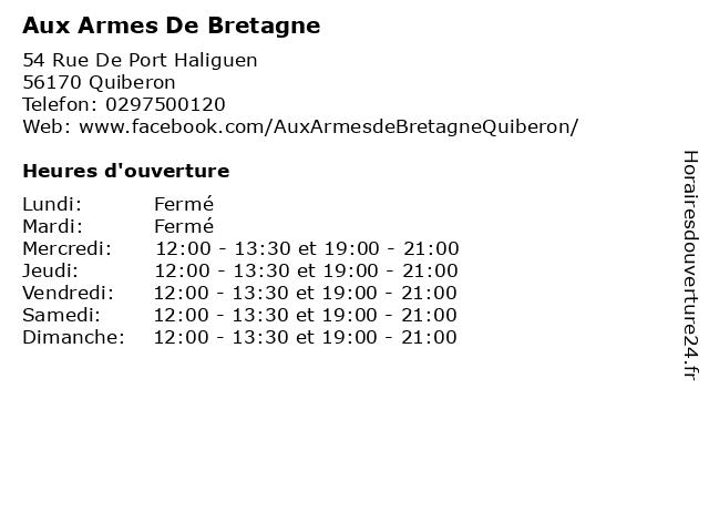 Aux Armes De Bretagne à Quiberon: adresse et heures d'ouverture