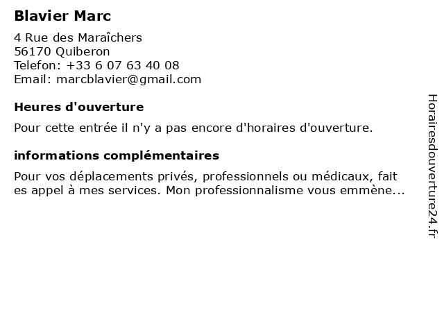 Blavier Marc à Quiberon: adresse et heures d'ouverture
