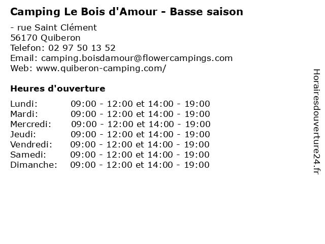 Camping Le Bois d'Amour - Basse saison à Quiberon: adresse et heures d'ouverture