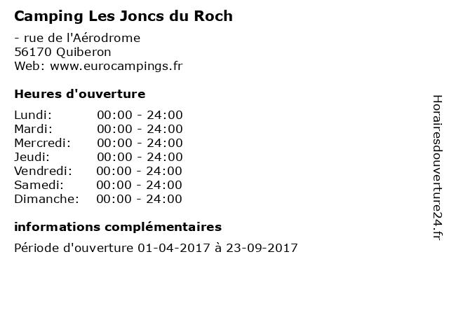 Camping Les Joncs du Roch à Quiberon: adresse et heures d'ouverture