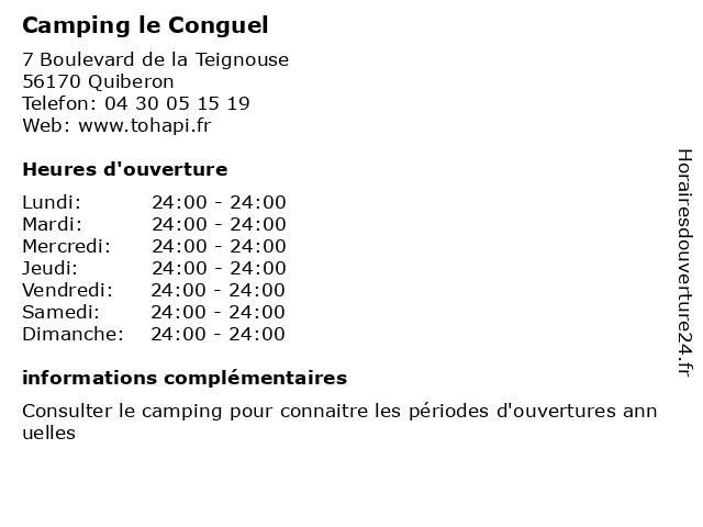 Camping le Conguel à Quiberon: adresse et heures d'ouverture