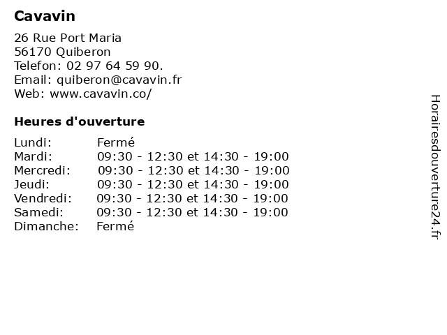 Cavavin à Quiberon: adresse et heures d'ouverture