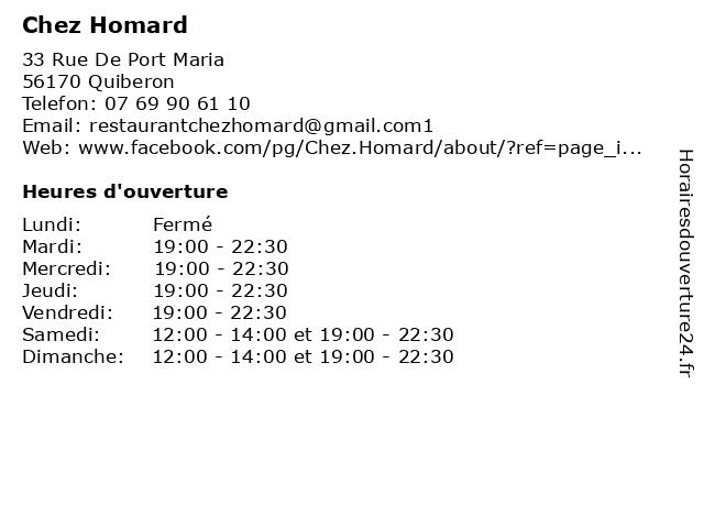 Chez Homard à Quiberon: adresse et heures d'ouverture