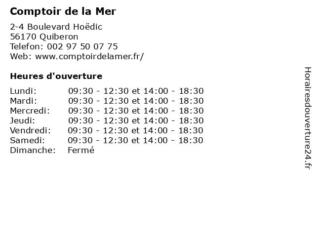 Comptoir de la Mer à Quiberon: adresse et heures d'ouverture