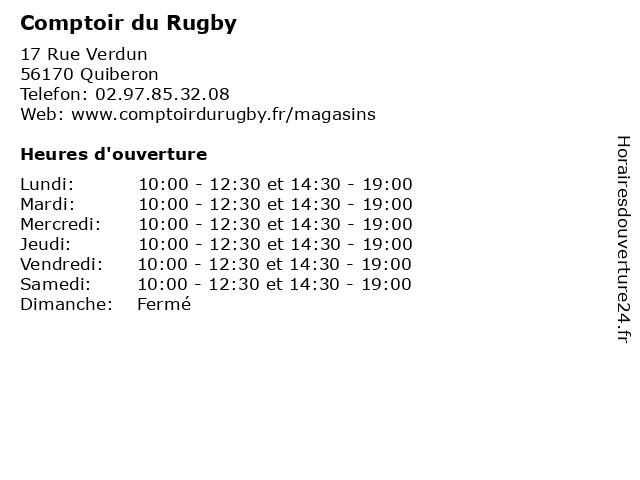 Comptoir du Rugby à Quiberon: adresse et heures d'ouverture
