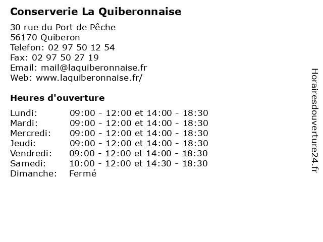 Conserverie La Quiberonnaise à Quiberon: adresse et heures d'ouverture