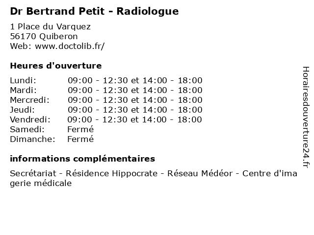 Dr Bertrand Petit - Radiologue à Quiberon: adresse et heures d'ouverture