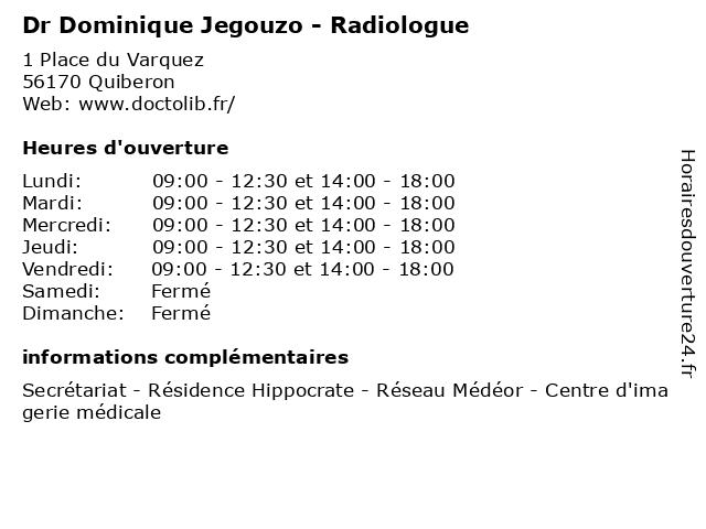 Dr Dominique Jegouzo - Radiologue à Quiberon: adresse et heures d'ouverture