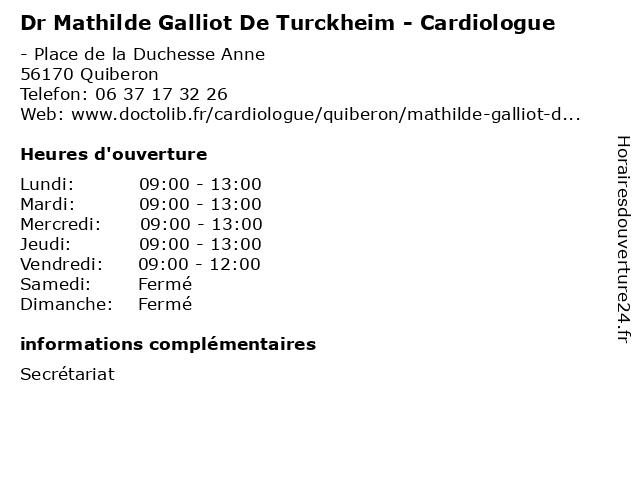 Dr Mathilde Galliot De Turckheim - Cardiologue à Quiberon: adresse et heures d'ouverture