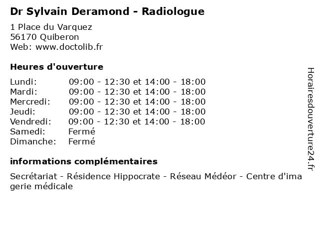 Dr Sylvain Deramond - Radiologue à Quiberon: adresse et heures d'ouverture