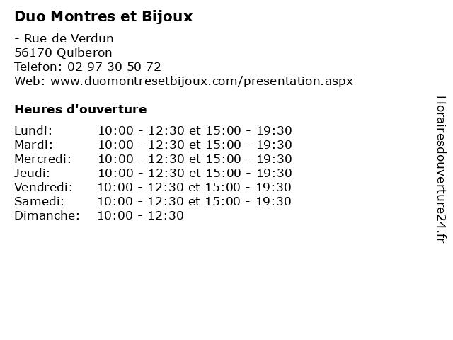 Duo Montres et Bijoux à Quiberon: adresse et heures d'ouverture