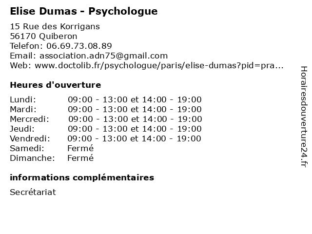Elise Dumas - Psychologue à Quiberon: adresse et heures d'ouverture