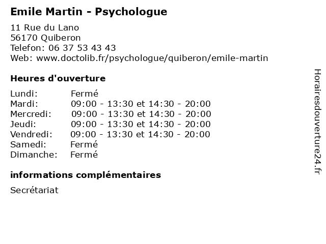 Emile Martin - Psychologue à Quiberon: adresse et heures d'ouverture