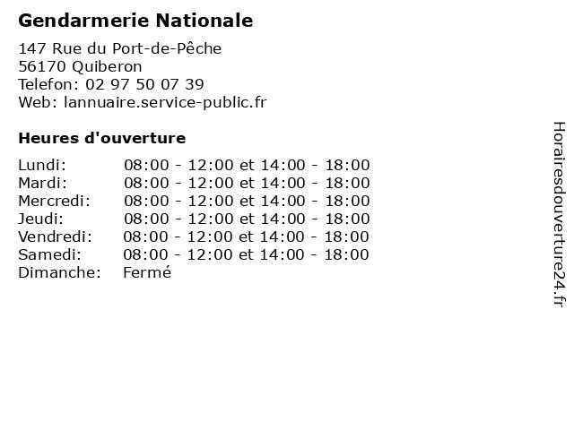Gendarmerie Nationale à Quiberon: adresse et heures d'ouverture