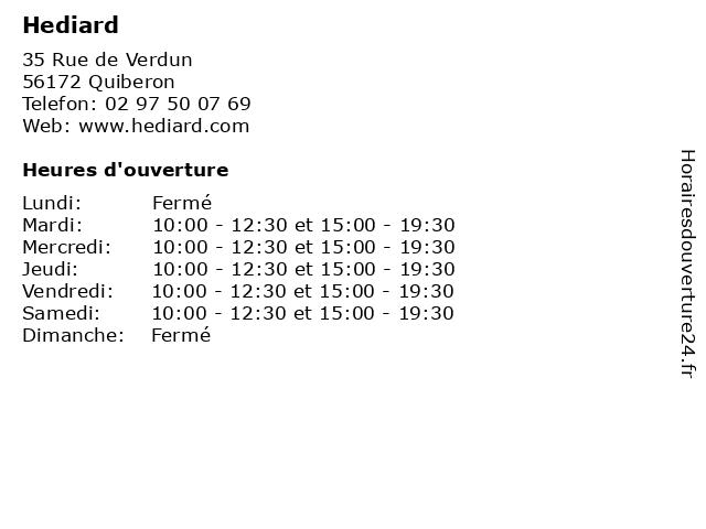 Hediard à Quiberon: adresse et heures d'ouverture