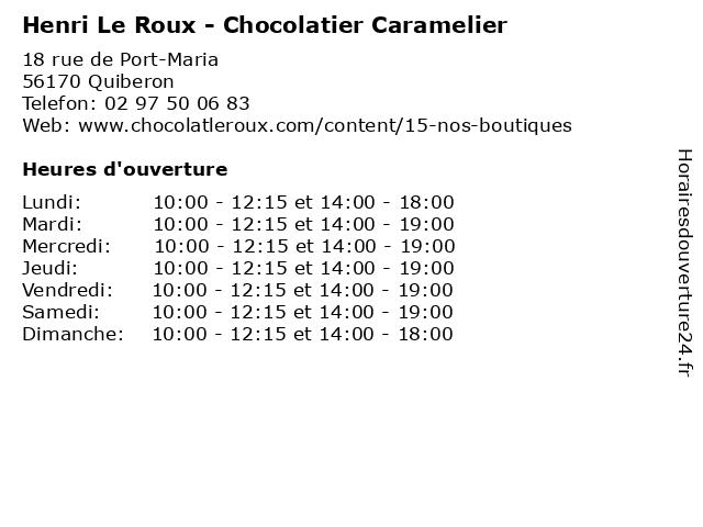 Henri Le Roux - Chocolatier Caramelier à Quiberon: adresse et heures d'ouverture