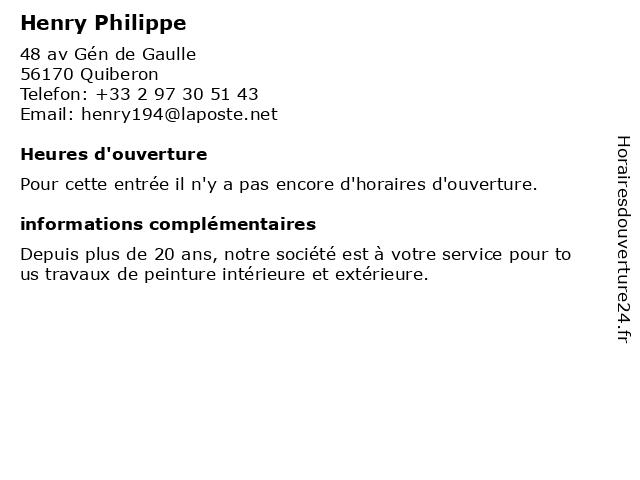 Henry Philippe à Quiberon: adresse et heures d'ouverture