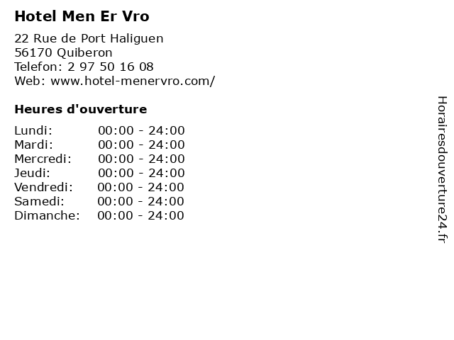 Hotel Men Er Vro à Quiberon: adresse et heures d'ouverture