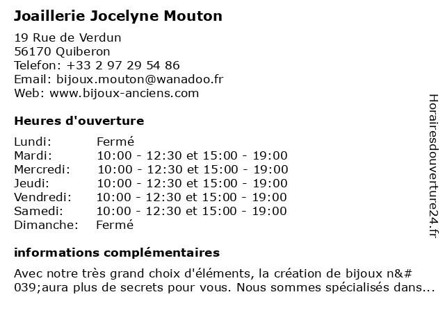 Joaillerie Jocelyne Mouton à Quiberon: adresse et heures d'ouverture