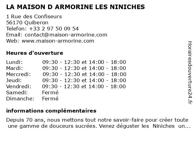 LA MAISON D ARMORINE LES NINICHES à Quiberon: adresse et heures d'ouverture