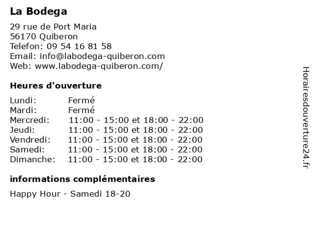 La Bodega à Quiberon: adresse et heures d'ouverture